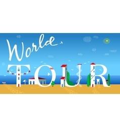 World tour summer coast line vector