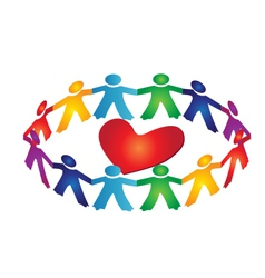 Teamwork people around a heart vector