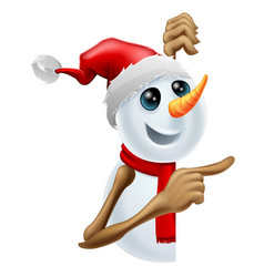 Happy snowman in santa hat pointing vector