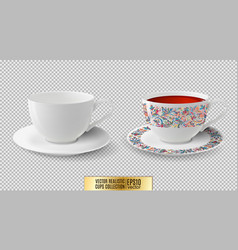 Cup white ceramic cup with saucer cup of vector