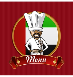 Food from arab emirates menu poster vector