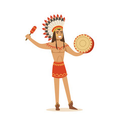 Native american indian in traditional in loincloth vector