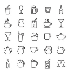 25 outline universal drinks icons vector image