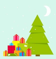 Christmas tree and piles of presents vector
