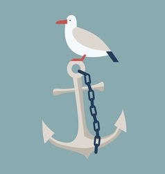 Anchor and seagull vector