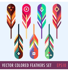 Colored feathers set vector