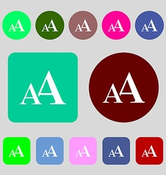 Enlarge font AA icon sign 12 colored buttons Flat vector image