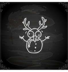 Hand drawn snowman with antlers vector
