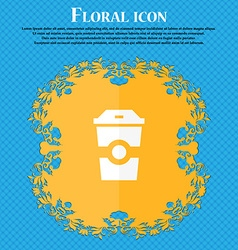Breakfast coffee icon floral flat design on a blue vector