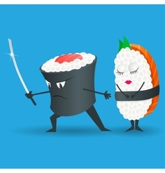 Samurai sushi cartoon character vector