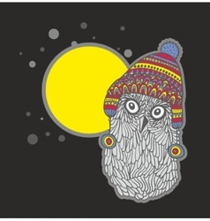 Cute doodle owl in scandinavian hat with banner vector