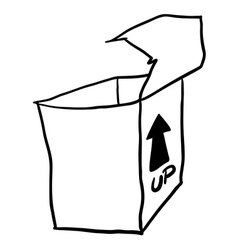 Black and white freehand drawn cartoon empty box vector