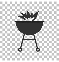 Barbecue with fire sign dark gray icon on vector
