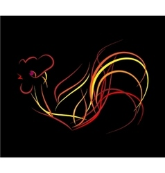 Bright fire rooster on a black background vector