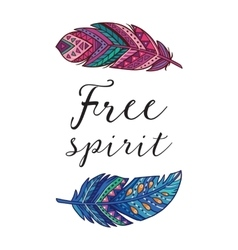 Free spirit card with ethnic decorative vector