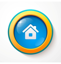 Blue glass home button vector image vector image