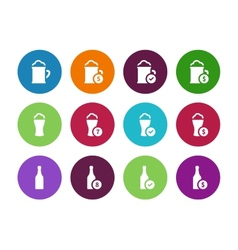 Bottle and glass of beer circle icons on white vector image vector image