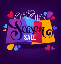 bright season sale background with shopping bags vector image vector image