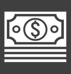 bundle of money glyph icon business and finance vector image vector image