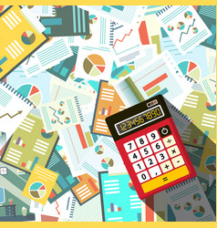 Calculator woth paperwork background vector