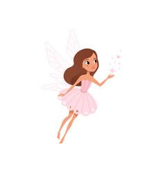 Cartoon fairy girl flying and spreading magical vector