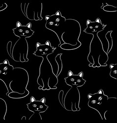 cats seamless background vector image vector image
