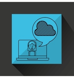 character draw cloud technology social media vector image