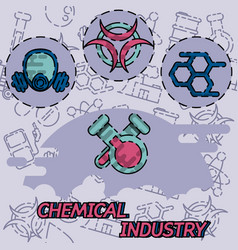 Chemical industry flat concept icon vector