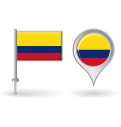 Colombian pin icon and map pointer flag vector
