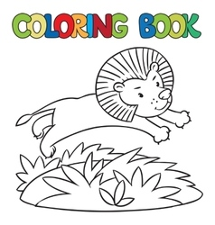 Coloring book of little lion vector
