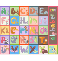 Cute zoo alphabet with cartoon animals isolated vector