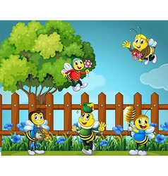 Five bees in the garden vector