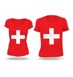 Flag shirt design of Switzerland vector image vector image