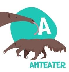 Funny cartoon animals alphabet letter set vector