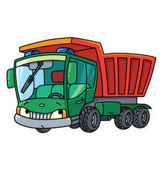 Funny small dump truck with eyes vector