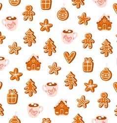 Gingerbread christmas figures seamless pattern vector image vector image