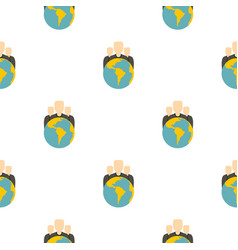 Globe and group of people pattern flat vector