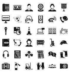 Headphones icons set simple style vector