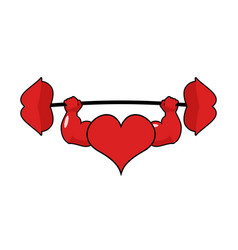 Heart strong love powerful sport barbell kiss vector