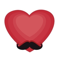 heart with mustache hipster style vector image