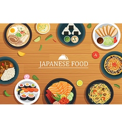 Japanese food on a wooden background japanese food vector