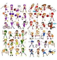 Kids playing various sports vector