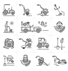 Line icons art agriculture agricultural machinery vector