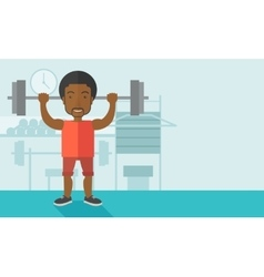 Man with barbell vector image