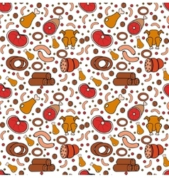 Meat products seamless pattern modern line vector