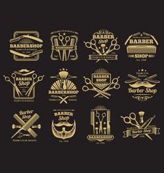 old barbershop emblems and labels vector image