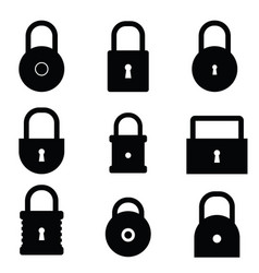 padlock set in black color vector image