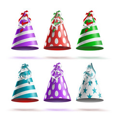 party hat set realistic festive birthday vector image