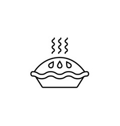 Pie line icon food drink elements vector