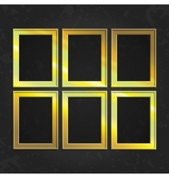 Set of gold frames vector image